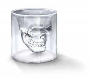 Blown glass crystal Skull Shot Glass.