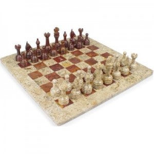 fossil and black marble stone chess set