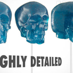 different angles of the blue gummy skull on a stick candy