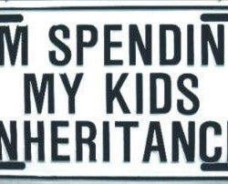 I'm Spending My Kid's Inheritance License Plate