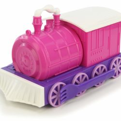 Pink chew chew train girl's set, all put together as a train.