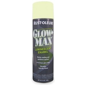 Rustoleum glow max glow in the dark spray paint.