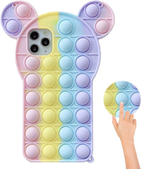 colorful fidget phone case with ears.