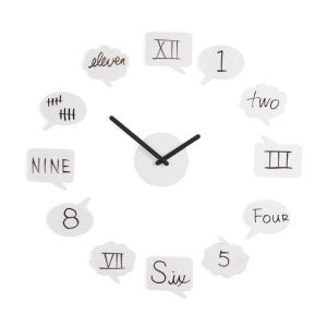 The Tick Talk Clock is a unique style of wall clock from Umbra.