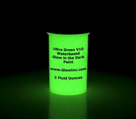 ultra green v10 glow in the dark paint jar