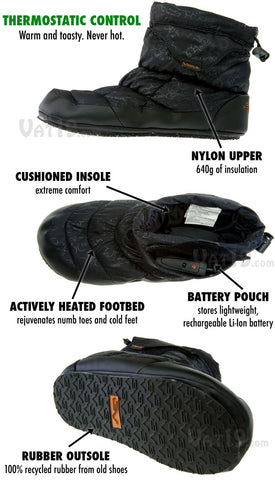 volt heated slippers specs and insulation details.