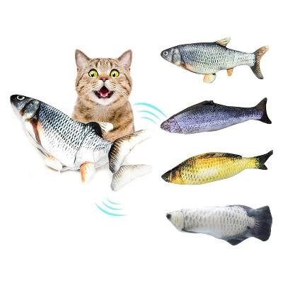 cat loving the vibrating fish toys. All four fish styles shown here.