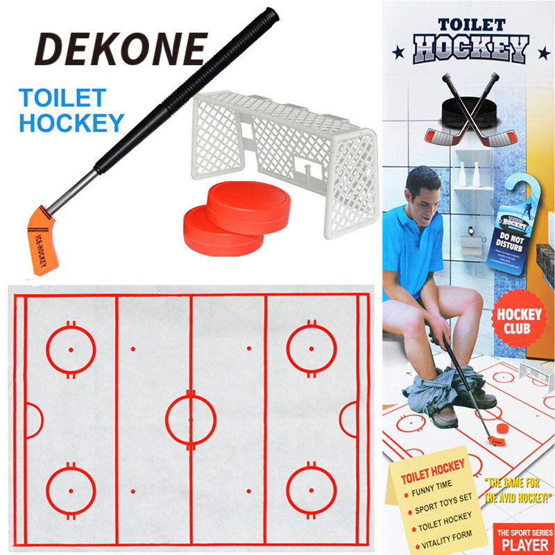 Toilet Hockey Game- Practice your stick handling on the bowl