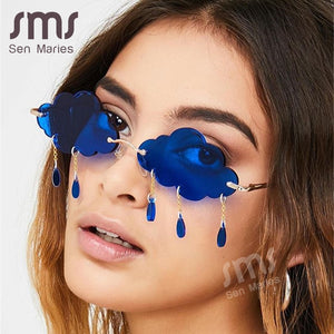 Fashion Rimless Sunglasses Women 2020 Vintage Clouds Tassel Steampunk Sunglasses Men Frameless Punk Glasses Shades UV400 Oculos