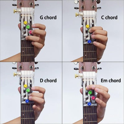 playing different chords with colorful guitar helper buddy.