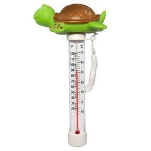 turtle floating pool thermometer bright green.