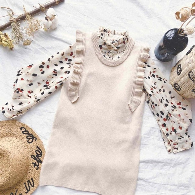 Leopard Blouse 2 Set Dress