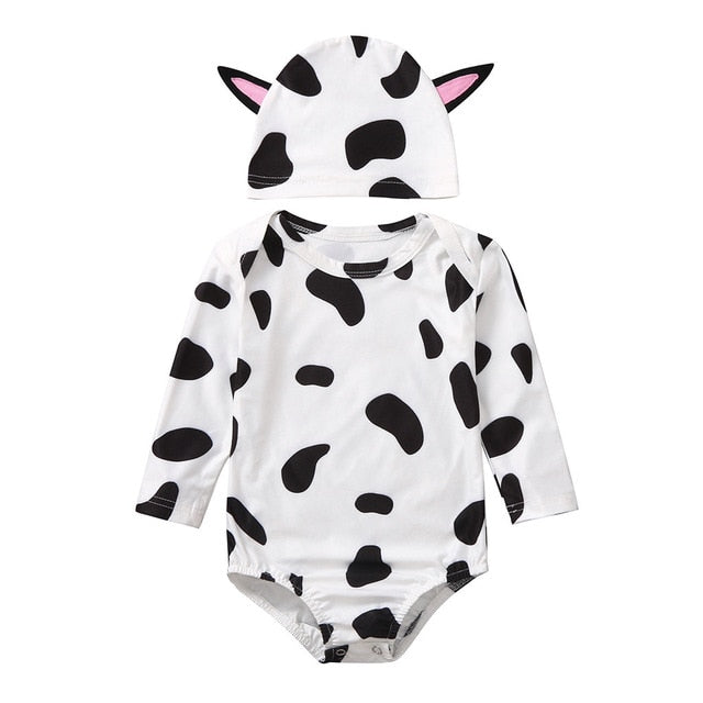 Cow Print Romper and Head Warmer