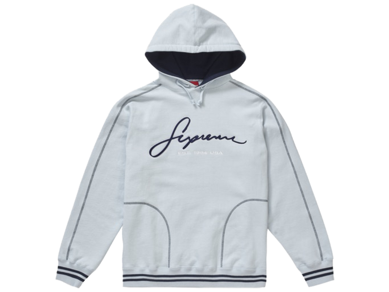 Supreme Contrast Embroidered Hooded Sweatshirt Ice