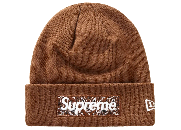Supreme New Era Box Logo Beanie (FW19) Brown