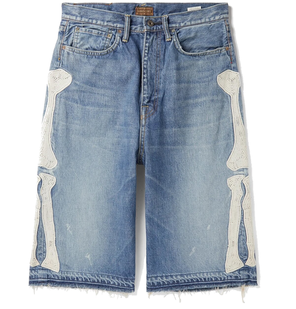 Kapital Bone Embroidery Denim Shorts