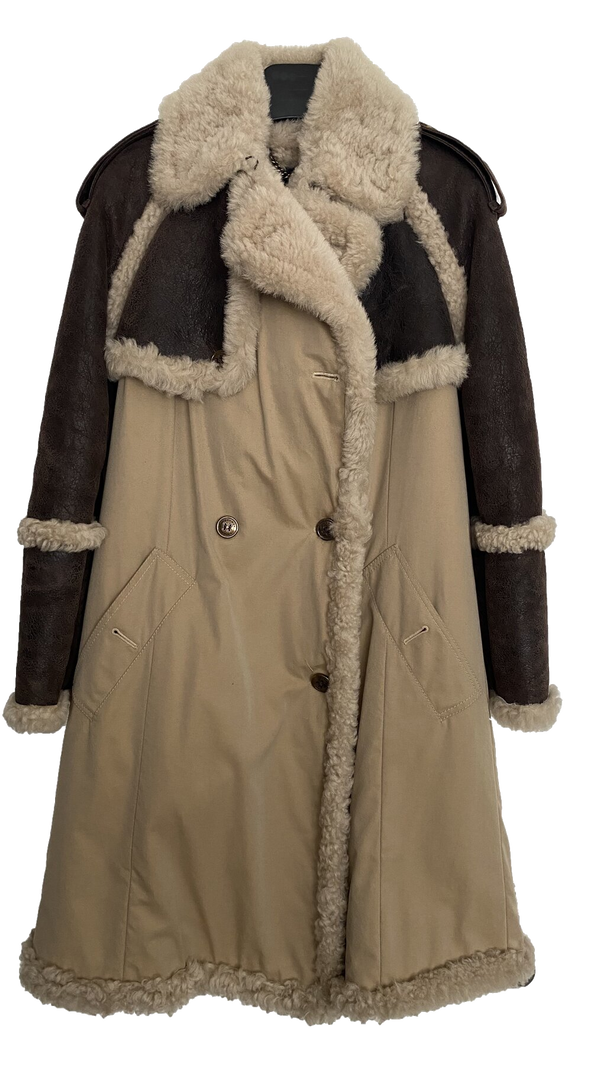 Burberry Prorsum Shearling and Gabardine Coat (W)