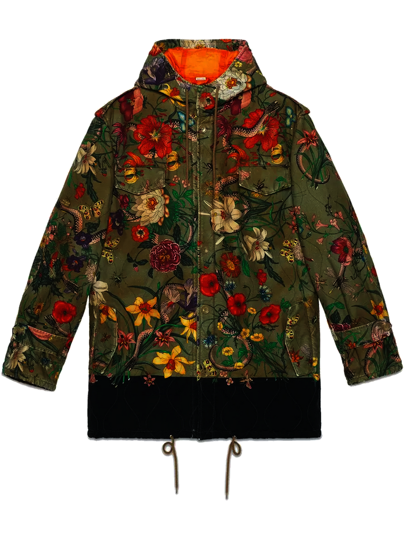 Gucci New Flora Snake Print Quilted Parka