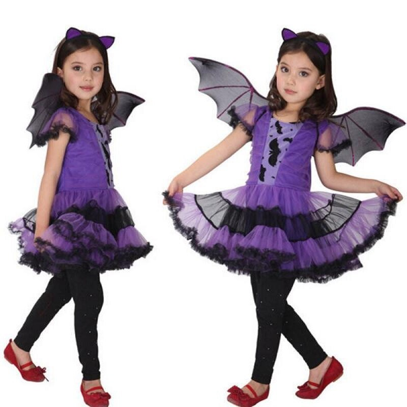 Girls Bat Halloween Dress with Wings and Headband