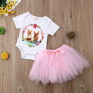 Rabbit Print Jumpsuit Romper+TuTu Skirt