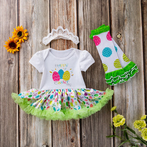Baby Easter Egg Tutu Dress with Ruffle Leg Warmers and Headband