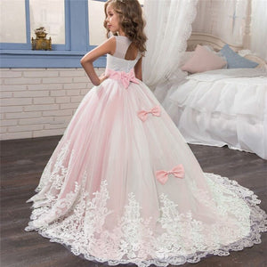 Girls Ballgown with Lace Train