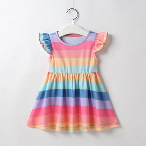 Girls Dress with Flutter Sleeves and Rainbow Stripes
