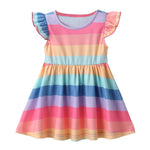 Load image into Gallery viewer, Girls Dress with Flutter Sleeves and Rainbow Stripes