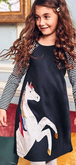 Load image into Gallery viewer, Navy Pony Long Sleeve Dress