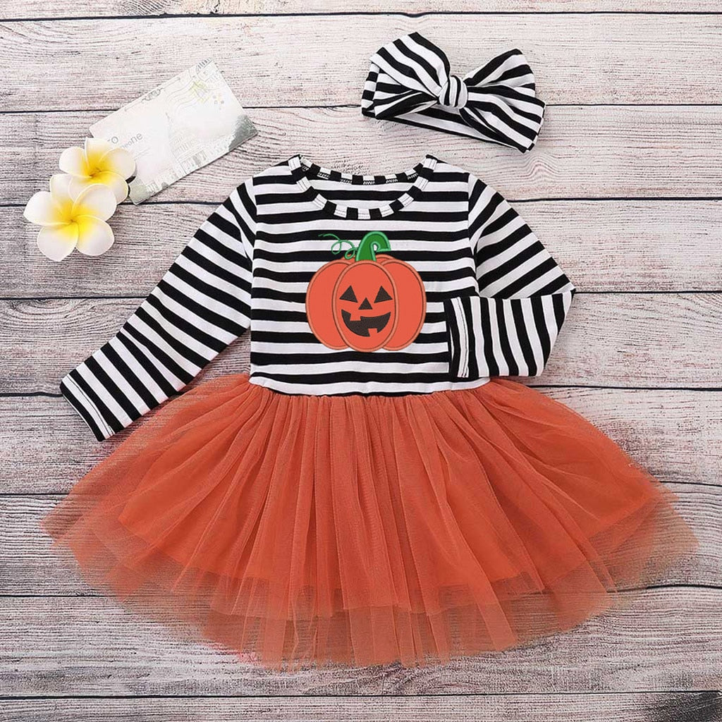 Halloween Tulle Baby Dress and Head Bow