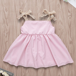 Girls Pink Shoulder Tie Easter Bunny Dress