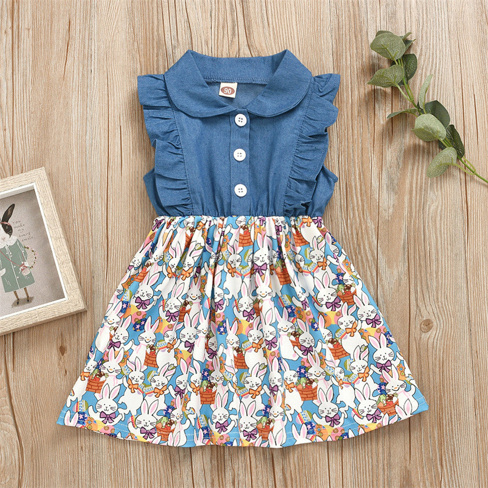 Denim Top Easter Bunny Print Dress