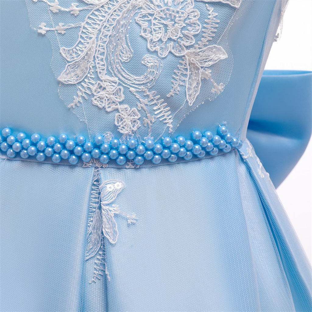 Girl Blue Lace Princess Ball Gown