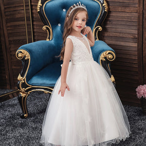 Girls Sleeveless Lace Princess Gown
