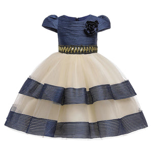 Girls Flower and Stripe Gown