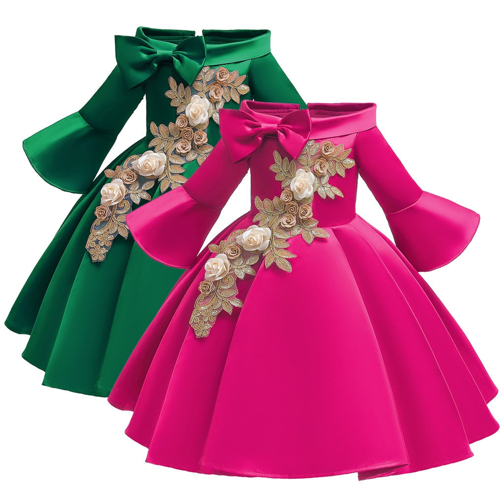 Girls Princess Bell Sleeve Bowknot Gown