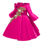 Load image into Gallery viewer, Girls Princess Bell Sleeve Bowknot Gown