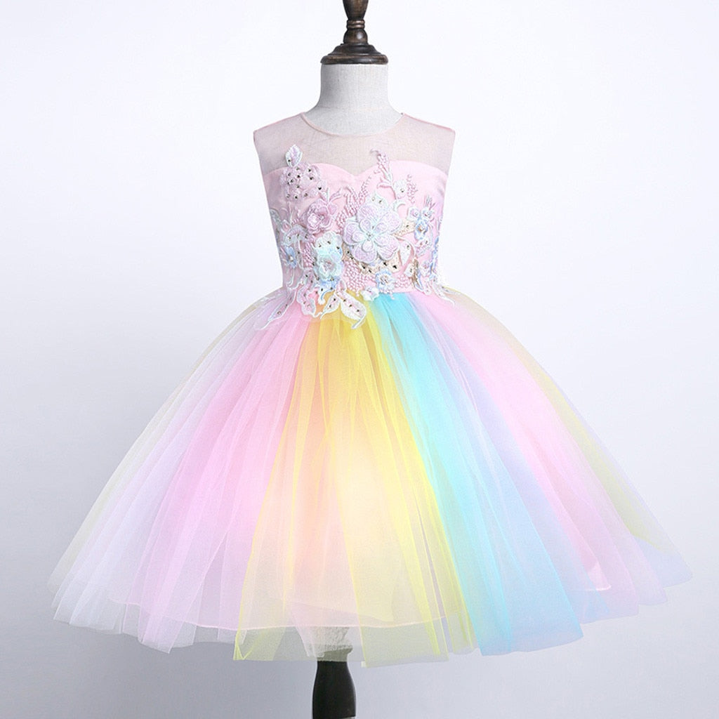 Girls Pastel Rainbow Dress