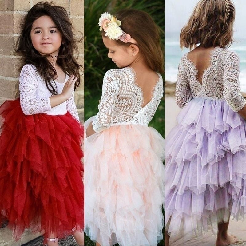 Girls Lace Top Tulle Dress