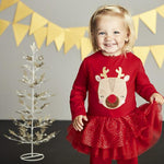 Load image into Gallery viewer, Girls Long Sleeve Sparkle Skirt Reindeer Dress