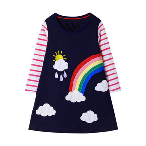 Girls Long Sleeve Rainbow Dress