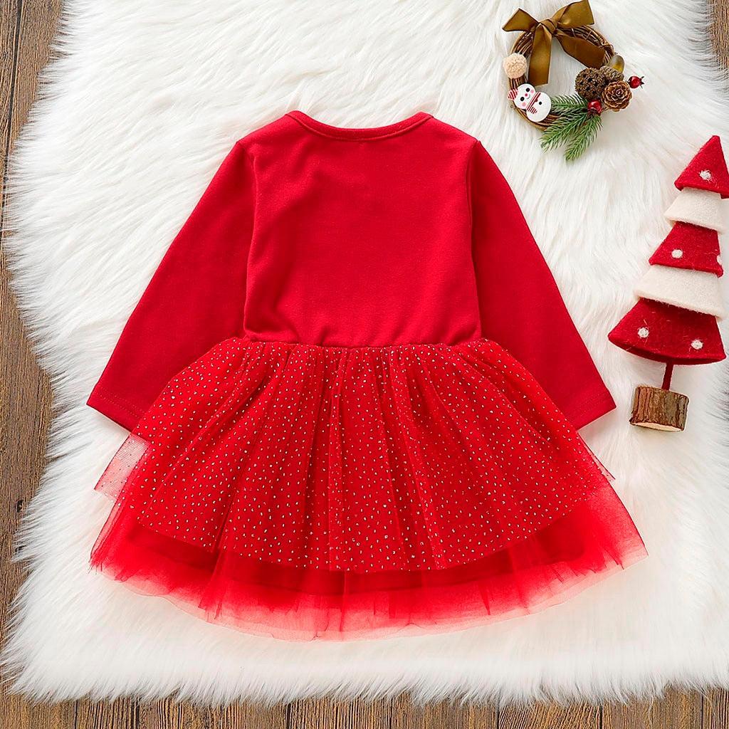 Girls Long Sleeve Sparkle Skirt Reindeer Dress