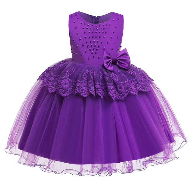 Girls Pearl Beaded Gown
