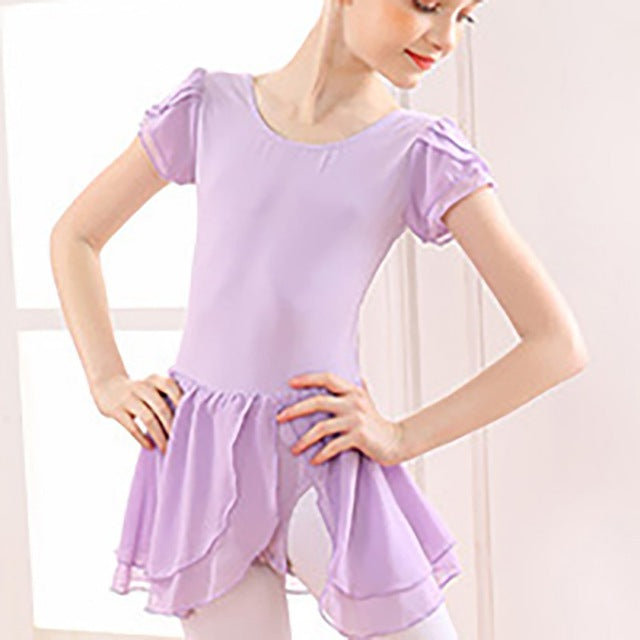 Girls Flutter Sleeve Cross Back Ballet Leotard