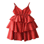 Load image into Gallery viewer, Girls Summer Sleeveless White Red Ruffles Dress
