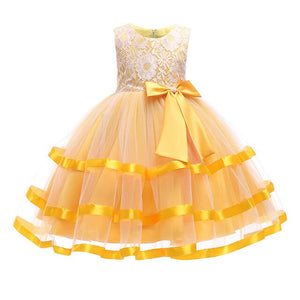 Girls Lace Bow Ballgown
