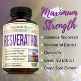 Vegan - Resveratrol Supplement - 650mg - 60 capsules