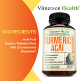 Plant Based -Turmeric Curcumin with Acai Berry - 60 Capsules.