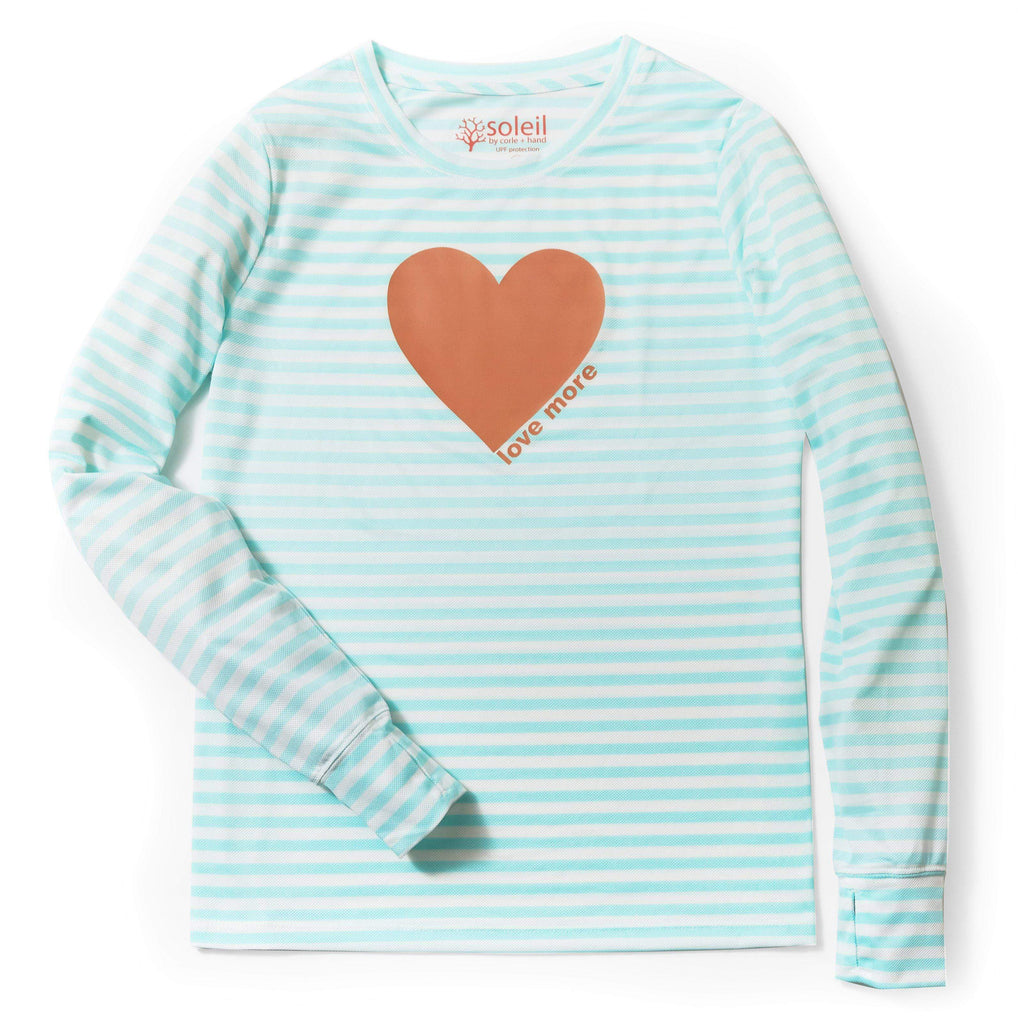 Love More Women's Long Sleeve UPF 30 Tee - Light Blue