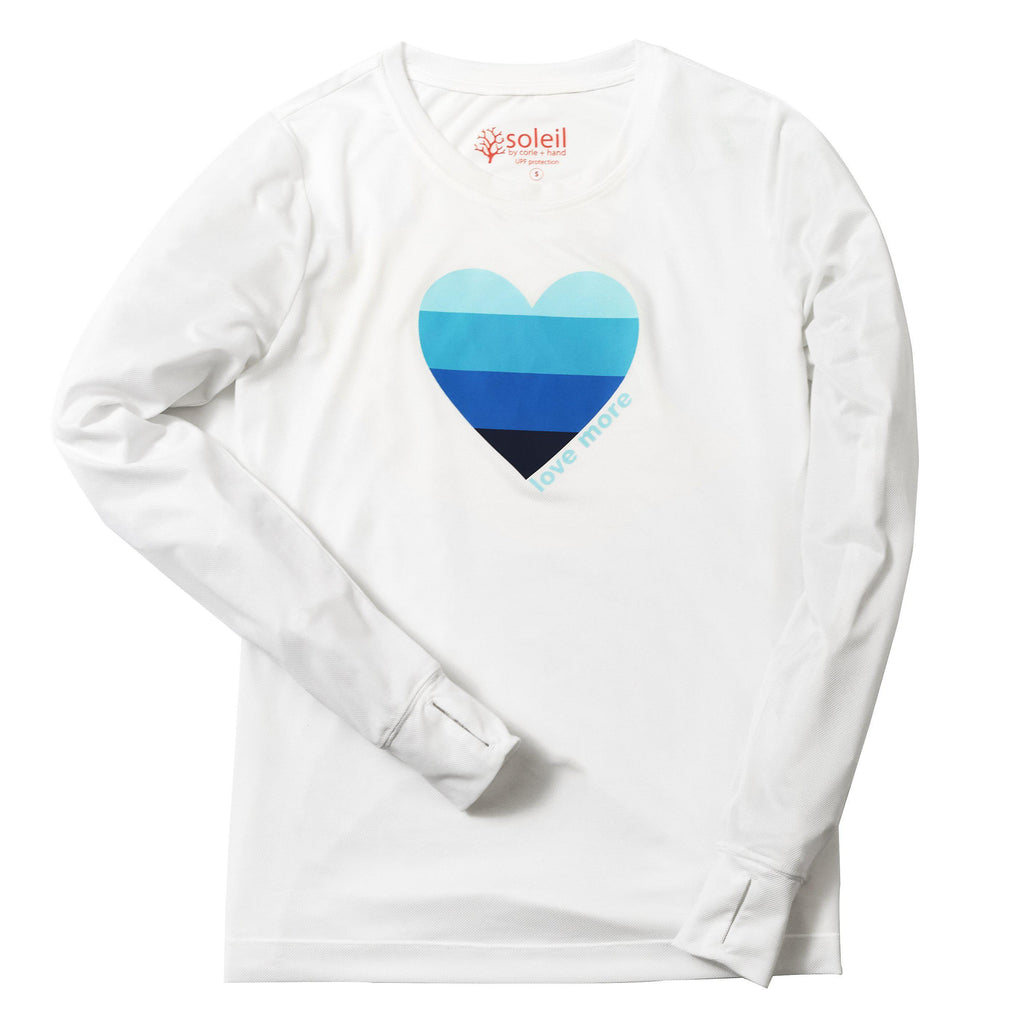 Love More Women's Long Sleeve UPF 30 Tee - White